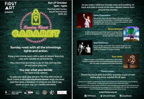Upcoming events from First Art: Sunday Roast Cabaret in South Normanton