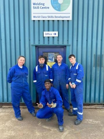 Former Derby College Welding students all offered Doosan Babcock national apprenticeships