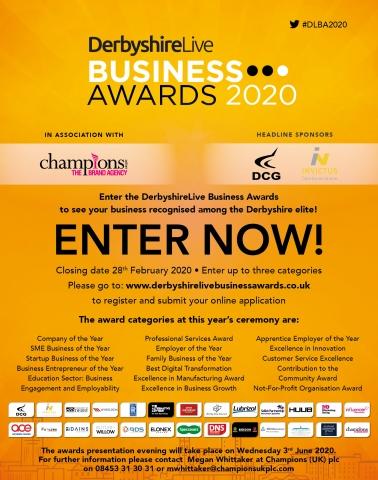 Enter the DerbyshireLive Business Awards 2020